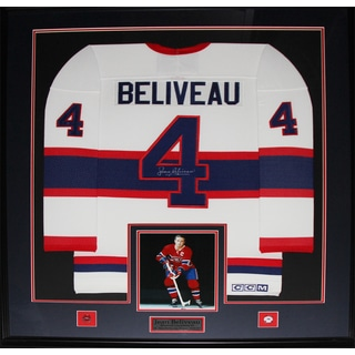 Jean Beliveau Montreal Canadiens Signed Jersey Frame