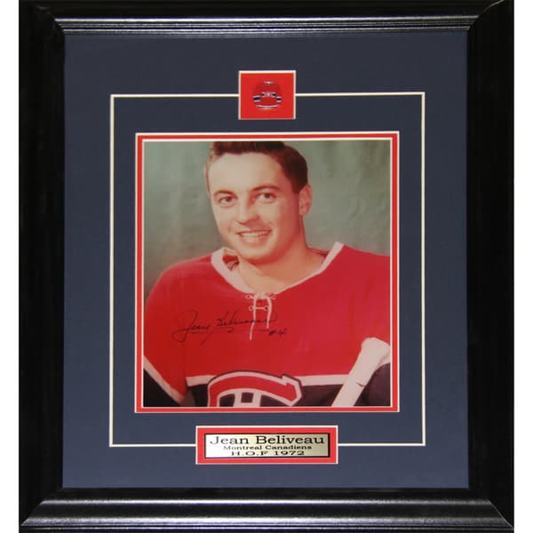 Jean Beliveau Montreal Canadiens Signed 8x10-inch Frame