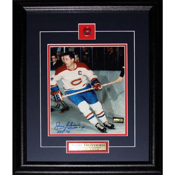 Jean Beliveau Montreal Canadiens Action Movement Signed 8x10-inch Frame