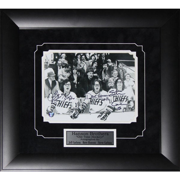 Hanson Brothers Slap Shot Signed 8x10-inch Frame