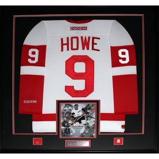 Gordie Howe Detroit Red Wings Signed White Jersey Frame