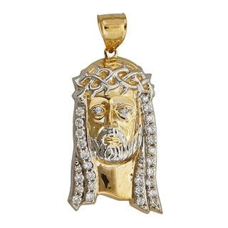 14k Yellow and White Gold Jesus Bust Dangling Pendant