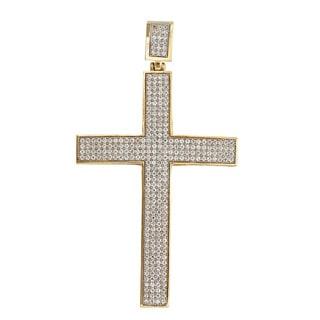 Decadence 14k Yellow Gold Pave Cross Pendant