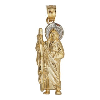 14k Yellow and White Gold Religious Figure Moses with Staff Dangling Pendant