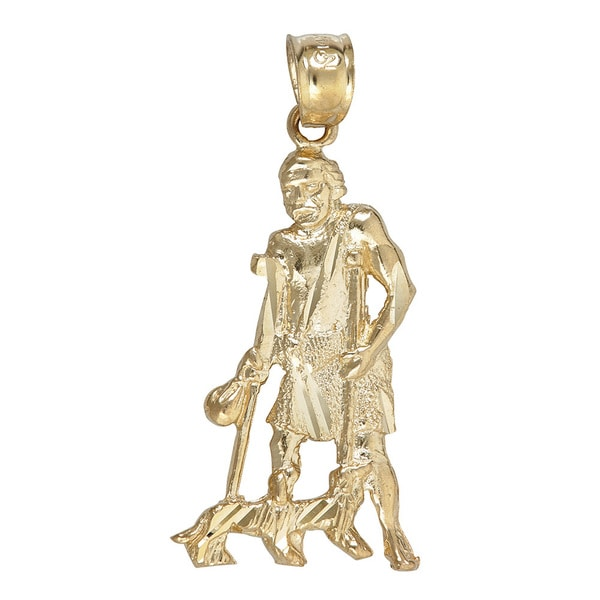 c6d65710912 Shop 14K Yellow Gold Saint Lazarus with Two Dogs Dangling Pendant ...