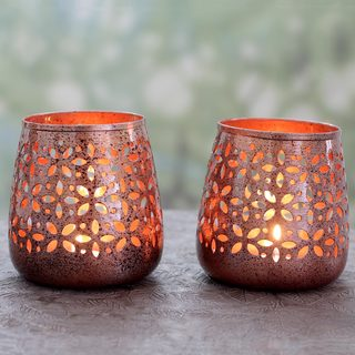 Set of 2 Handmade Steel 'Flower Glow' Tealight Holders (India)