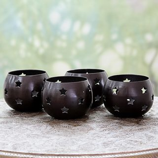Set of 4 Handcrafted Steel 'Chocolate Stars' Tealight Holders (India)