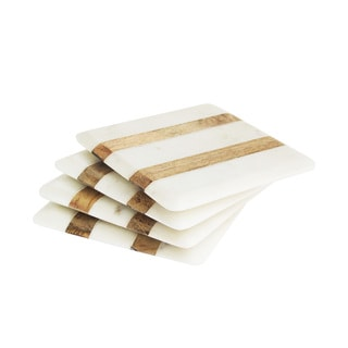White and Wooden Stripe Marble Coaster (Set of 4)