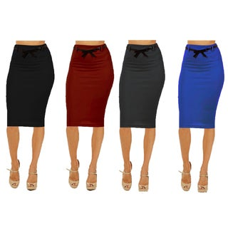 Women's Multicolor Rayon/Spandex High Waist Pencil Skirt (Pack of 4)