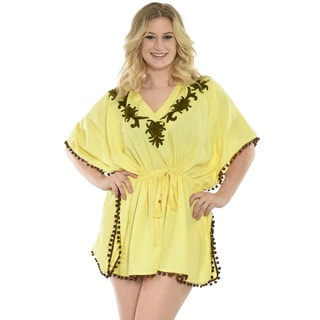 La Leela SOFT RAYON Beach Embroidered Vintage Kimono BIKINI Cover up TOP Yellow