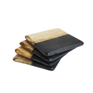 Black and Light Wood Marble Coaster (Pack of 4)