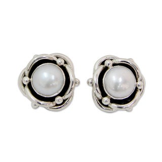Sterling Silver 'Regal Aura' 10mm Pearl Earrings (India)