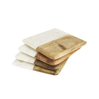 American Atelier White Marble and Wood Coaster (Set of 4)