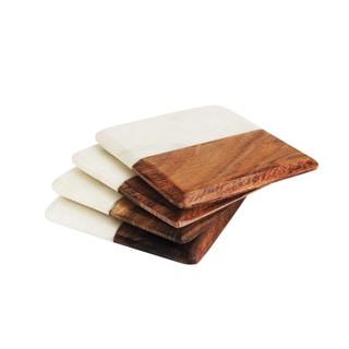 American Atelier White/Dark Wood/Marble Coasters (Pack of 4)