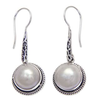 Handmade Sterling Silver 'White Camellia' 12mm Pearl Earrings (Indonesia)