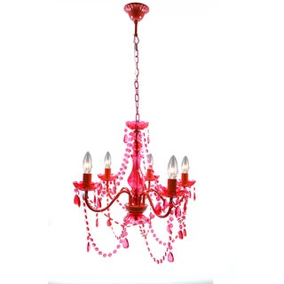 Warehouse of Tiffany Elixyvette Red Acrylic 20-inch 5-light Chandelier