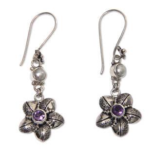 Handmade Sterling Silver 'Blossom' Amethyst 5mm Pearl Earrings (Indonesia)