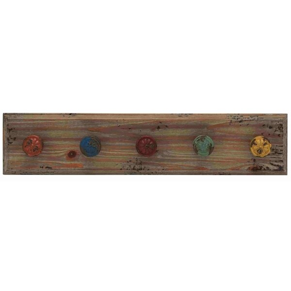 Wooden Vintage-themed Wall Panel with Colorful Hooks