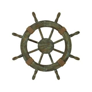 Natural Finish Wood Ship Wheel