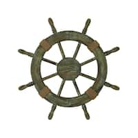 Havenside Home Buckroe Natural Finish Wood Ship Wheel
