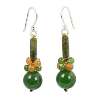 Sterling Silver 'Scenic Green' Unakite Quartz Earrings (Thailand)