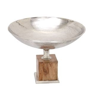 Aluminum and Wood Serving Bowl