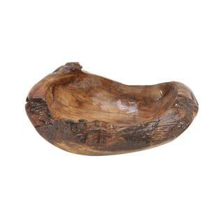 Customary Styled Teak Wood Resin Bowl