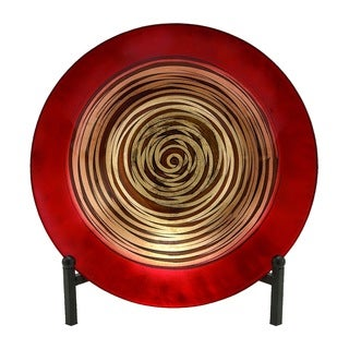 Red/Gold Metal Glass Bowl Easel