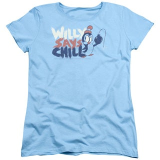 Chilly Willy/I Say Chill Short Sleeve Women's Tee in Light Blue