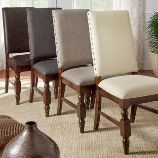 TRIBECCA HOME Flatiron Nailhead Upholstered Dining Chairs (Set of 2) (As Is Item)