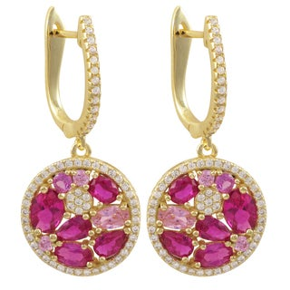 Luxiro Gold Finish Sterling Silver Lab-created Ruby Dangle Earrings - Pink