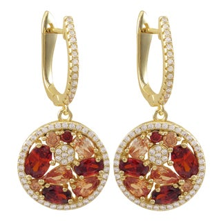 Luxiro Gold Finish Sterling Silver Red and Champagne Cubic Zirconia Dangle Earrings