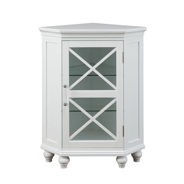 Essential Home Furnishings Greyson White Glass/Wood Corner Floor Cabinet