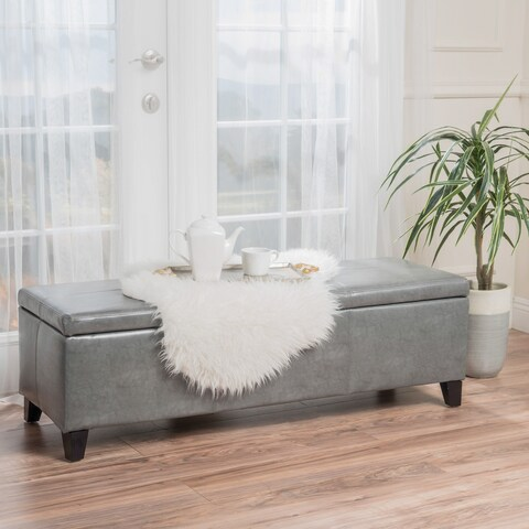 Lucinda Bonded Leather Stitched Storage Ottoman Bench by Christopher Knight Home
