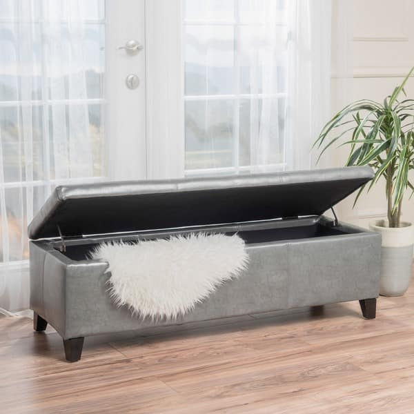 Miraculous Shop Lucinda Bonded Leather Stitched Storage Ottoman Bench Theyellowbook Wood Chair Design Ideas Theyellowbookinfo
