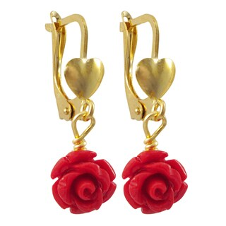 Luxiro Gold Filled Red Rose Flower Girls Earrings