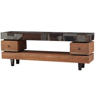 Bramble Co. Remi Mahogany Driftwood/ Tin Media Console