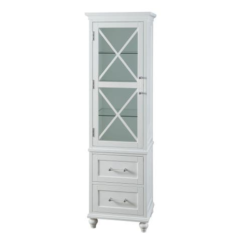 Grayson White Linen Tower with Two Drawers and Chrome Hardware