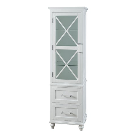 Grayson White Linen Tower with 2 Drawers and Chrome Hardware by Elegant Home Fashions