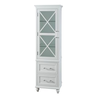Grayson White Linen Tower with 2 Drawers and Chrome Hardware by Essential Home Furnishings