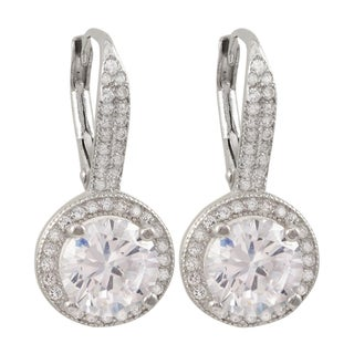 Luxiro Sterling Silver Cubic Zirconia Round Drop Earrings