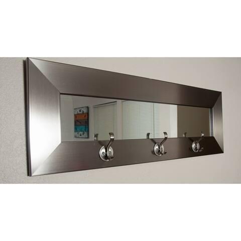 Last Look Silver Stainless 32-inch 3-hook Mirror