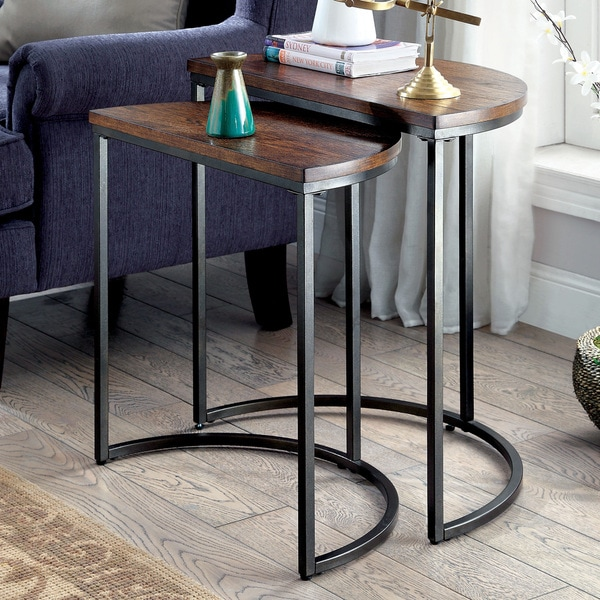 Furniture Of America Bornell Industrial Style Half Moon Nesting Table