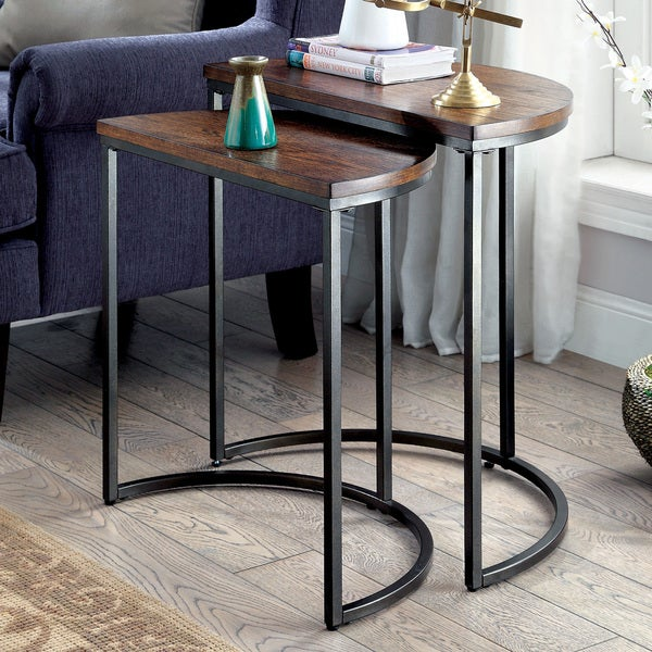 Charming Furniture Of America Bornell Industrial Style Half Moon Nesting Table