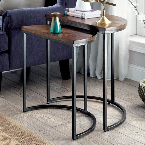 Furniture of America Bornell Industrial Style Half-Moon Nesting Table
