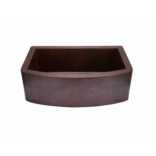Hahn Copper CO003 Copper 21.88-inch x 33-inch x 10-inch Curved-front Single-bowl Farmhouse Sink