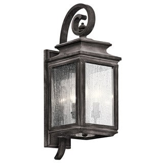 Kichler Lighting Wiscombe Park Collection 3-light Weathered Zinc Outdoor Wall Lantern