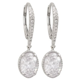 Luxiro Sterling Silver Cubic Zirconia Oval Dangle Earrings