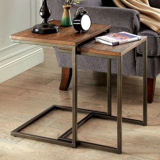 Buy nesting tables coffee console sofa end tables online at carbon loft morse industrial style nesting tables watchthetrailerfo