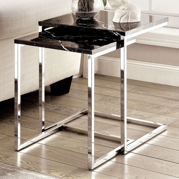 Contemporary Nesting Tables ~ Shop furniture of america sherise contemporary faux marble